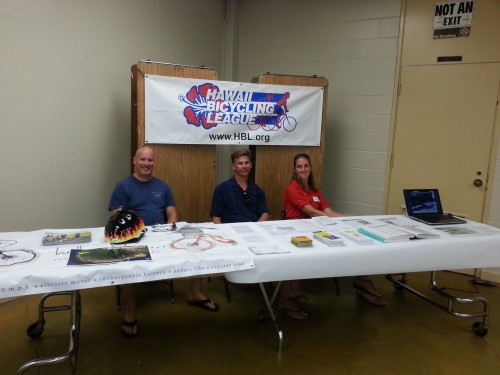 L to R: Dan Rezac, Kevin Wuertz and Ceal Potts represented the Maui Bicycling League at the West Maui Taxpayers Association meeting on Jan. 9, 2015, in Lahaina.