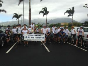 All who participated in Maui's Ride of Silence wore white and rode to honor Karl Hagen, a Kihei cyclist who was struck by a motorist and killed in April 2014.